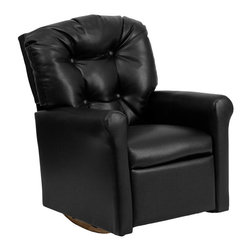 Flash Furniture - Kids Black Vinyl Rocker Recliner - Kids will now be able to enjoy the comfort that adults experience with a comfortable recliner that was made just for them! This chair features a strong wood frame with soft foam and then enveloped in durable vinyl upholstery for your active child. Choose from an array of colors that will best suit your child's personality or bedroom. This petite sized recliner features a rocker frame for kids to enjoy and feel like a big kid. The rocking feature becomes disabled once the chair is reclined for safety.