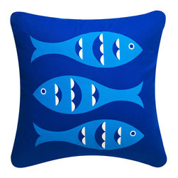 Wabisabi Green - Blue Fish Eco Pillow, Sapphire Blue, 18x18, With Insert - With its retro-inspired fish print, this throw pillow will give your ocean-themed decor a twist. Try pairing it with a classic cabana stripe print for a nostalgic look, or mix in some colorful botanical prints for a more tropical effect. The pillow is made from a recycled polyester/organic cotton blend fabric and hand-printed with ecofriendly ink.