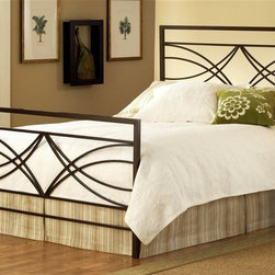 Hillsdale Furniture - Dutton Contemporary Panel Bed in Brown Finish - Choose Size: QueenIncludes headboard, footboard and rails. Mattress not included. 4 leg Satin Beige twin bed frame. 6 leg Satin Beige queen/king bed frame. Fully-welded construction. Heavy gauge tubing. Brown crystal finish. Some assembly required. Full headboard: 54 in. W x 1.25 in. D x 52 in. H. Full footboard: 54 in. W x 1.25 in. D x 32 in. H. Full frame: 76 in. L x 54 in. W. Queen headboard: 61 in. W x 1.25 in. D x 52 in. H. Queen footboard: 61 in. W x 1.25 in. D x 32 in. H. Queen frame: 83.5 in. L x 78 in. W. King headboard: 77 in. W x 1.25 in. D x 52 in. H. King footboard: 77 in. W x 1.25 in. D x 32 in. H. King frame: 83.5 in. L x 78 in. WThe Hillsdale Furniture Dutton bed is a fabulous mix of angles and sweeping scroll work. The Brown Crystal finish is a handsome compliment to today's popular earth tone inspired decors.