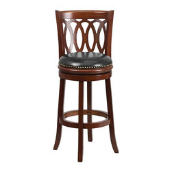 Flash Furniture - Flash Furniture Barstools Wood Barstools X-GG-YHC-92076-AT - Wood stools make a beautiful statement in the home when wanting to achieve an elegant arrangement. Place this stool in your kitchen, dining room or bar area. This stool is adorned with decorative nail trimming on the seat and bowed out legs. A full 360 degree swivel and footrest ring provides comfort and ease. [TA-67029-CHY-GG]