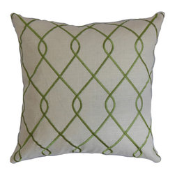 The Pillow Collection - Jolo Geometric Pillow Green - This decor pillow lends glamour and sophistication to your living space. This accent pillow makes a great fashion statement to your living room, bedroom or guestroom. Fill your home with this plush square pillow for a relaxing vibe. With a rich geometric detail in a jungle green hue against a white background, this throw pillow brings dimension and texture. Hidden zipper closure for easy cover removal.  Knife edge finish on all four sides.  Reversible pillow with the same fabric on the back side.  Spot cleaning suggested.