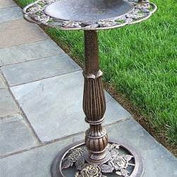 Oakland Living - Rose Bird Bath w Scalloped Edge and Decorativ - Rose themed. High-grade polyester powder coat finish. Brass and stainless steel hardware ensures sturdiness, durability and security for years. Long lasting, beautiful finish maintains appearance for years to come. Minimal maintenance. Electrostatic application of the powder coat insures a smooth, even finish. Quick and easy assembly assured with step-by-step assembly instructions included. Double QC quality program in which each piece is assembled prior to being unassembled and packaged assures that all parts are present and that the product will assemble easily. Cast iron and cast aluminum construction. Antique Bronze finish. 17 in. W x 17 in. D x 28 in. H (30 lbs.)