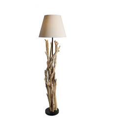 Bell Shade Artistic Driftwood Handcrafted Floor Lamp - Warm lights covers a bunch of un-live trees. It is a view happening in some drouthy desert. But when it is showing in your house, you and your friends must be shocked. And this wooden handmade floor lamp will also brings you warm light for your living room or bedding room.