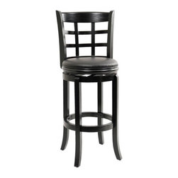 """Boraam - 29"""" Kyoto Swivel Stool in Black - Features: -Solid hardwood construction. -Black faux leather seat with high density foam. -Steel ball bearing. -Swivel for durability. -French leg with tampered bottoms. Dimensions: -Seat height: 29"""". -Overall: 44"""" H x 22"""" W x 19"""" D, 27 lbs."""