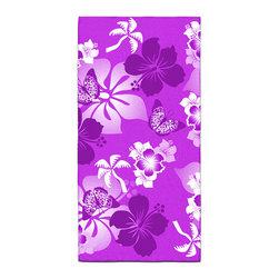 "Eco Friendly Hawaiian ""Aloha Purple"" Hibiscus Bath Towel - Our Bath/Beach Towels are made of a super soft poly fiber fabric with 2mm pile."