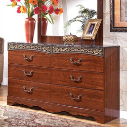 Signature Design by Ashley - Dresser in Cherry Grain - Color/Finish: Replicated Cherry Grain. Curving friezes with deeply carved scroll motifs in an Antique Gold finish. Large scaled bail with rosettes in an Antique Gold finished handle. Traditional base rail cut out details. Side roller glides for smooth operating drawers. Assembly Instructions. Bottom Drawer Volumes: 28.5 in. W x 13 in. D x 7 in. H. Middle Drawer Volumes: 28.5 in. W x 13 in. D x 5 in. H. Top Drawer Volumes: 28.5 in. W x 13 in. D x 4 in. H. Overall Dimensions: 63 in. W x 16 in. D x 36 in. H