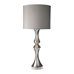Lazy Susan - Royal German Silver Lamp with Gray Fabric Shade - Royal German Silver Lamp with Gray Fabric Shade  - Made of: German Silver Lazy Susan - 665005