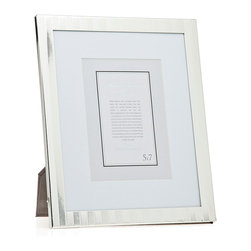 """Philip Whitney - Herringbone Silver Frame With Matting, 5""""x7"""" - Achieve a clean, polished look in your home using the Herringbone Silver Frame. Featuring a simple herringbone pattern and thick white matting, this frame can accommodate two different photo sizes. Use a 5-by-7 inch photo with the matting and an 8-by-10 inch photo without it. Display the frame on a mantel or entryway table as a focal piece."""