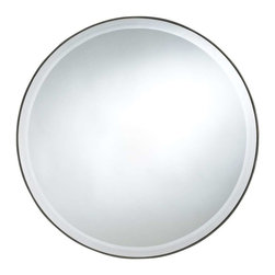 Cooper Classics - Cooper Classics Seymour Round Mirror, Mocha - Add contemporary charm to any decor with the Seymour round mirror. This lovely mirror has a beautiful mocha finish and beveled glass to compliment any decor.