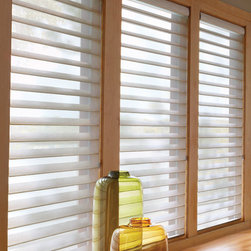Silhouette - Featuring the Signature S-Vane™, Silhouette® window shadings transform sunlight into remarkable beauty. Suspended between two sheers, the fabric vanes offer precise lighting control.