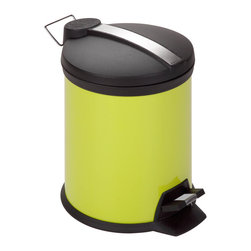 None - Lime Step 5-liter Trash Can - A contemporary and colorful addition to any room, this 5 liter trash can is the perfect size. The sturdy construction and robust design stand up to daily use and a steel foot pedal provides hands-free operation to keep germs at bay.
