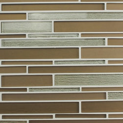 "Rocky Point Tile - Bahia Taupe Random Strip Glass Mosaic Tiles, 10 Square Feet - A beautiful mix of matte and high gloss glass strips on a 12"" x 12"" mesh backing. Colors include a variety of taupes. The lighter high gloss strips have a beautiful textured backing that gives these tiles a unique feeling to spice up your new kitchen backsplash or bathroom!"