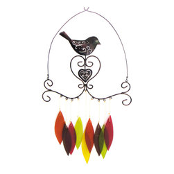 Blue Handworks - Bird & Heart Chime - Bird with heart chime by Blue Handworks. Handcrafted in Bali of powder-coated metal with sandblasted glass chimes which make a gentle sound when the wind blows. A great addition to garden or entryway. Makes a great gift.