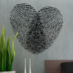 Fingerprint Heart Wall Decal by Uber Decals - The Fingerprint Heart decal from Etsy reminds me of a kid's craft project. It would look so cute in a nursery.