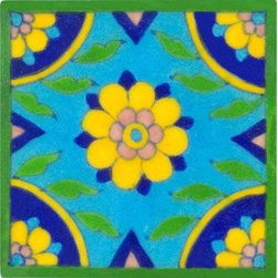 "Knobco - Tiles 4x4"", Turquoise tile w/ yellow & blue center & corner design - Turquoise tile with yellow and blue center and corner design from Jaipur, India. Unique, hand painted tiles for your kitchen or other tiling project. Tile is 4x4"" in size."