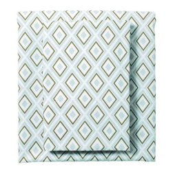 Serena & Lily - Aqua/Army Diamond Sheet Set - A smart geometric pattern in aqua and army adds visual interest to the room.