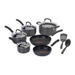 T-fal - Ultimate Hard Anodized 12-Pc Cookware Set - Thermo spot heat indicator. Patterned non-stick interior. Durable and scratch-resistant. Safe for use with metal utensils. Hard enamel exterior coat. Dishwasher safe and oven-safe to 350 degrees. Even heat distribution. Venting tempered glass lids. Riveted silicone handles