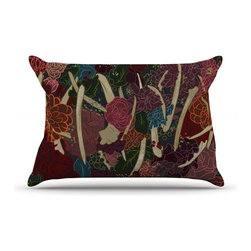 """Kess InHouse - Jaidyn Erickson """"New Life"""" Red Flowers Pillow Case, King (36"""" x 20"""") - This pillowcase, is just as bunny soft as the Kess InHouse duvet. It's made of microfiber velvety fleece. This machine washable fleece pillow case is the perfect accent to any duvet. Be your Bed's Curator."""