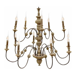 Kathy Kuo Home - Philippe French Country Reclaimed Wood Iron 13 Light Grand Chandelier - Create the ambiance of a French Country villa by candlelight with this impressive, reclaimed wood and iron chandelier. Delicately designed arms, adorned with Birchwood and pine details, hold thirteen candelabra bulbs. A white-washed finish completes the Old World feel of this stylish centerpiece.