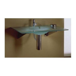 Whitehaus - New Generation Large Rectangular Counter Top - 0.5 in. matte glass counter top. Integrated round basin. Polished stainless steel angular wall mount supports. Single hole faucet drilling. Bowl: 14 in. Dia. x 5.5 in. H. Overall: 40 in. L x 21 in. W (35 lbs.). Warranty