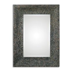 """Uttermost - Fulvia Hammered Metal Mirror - Frame is made of hammered metal finished in a mottled rust bronze and antiqued silver leaf. Mirror features a generous 1 1/4"""" bevel. May be hung horizontal or vertical."""