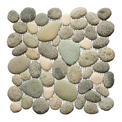 "Island Stone - Bird's Egg Blend - Island Stone invented the ""pebble tile"" in 1998 and while it spawned a new market, our Perfect Pebble Tile remains the premier pebble tile in the world. No other pebble offers Perfect Pebbles seamless appearance and smooth flat surface. To create Perfect Pebbles,  pebbles are individually sorted to insure only pebbles displaying  the highest quality, size, color and flatness are used.  These small, premium pebbles are placed in our proprietary interlocking shape to create a pebble tile of unmatched consistency and quality.  We invite you to learn more about what makes our pebble tile different from the adjacent product video."