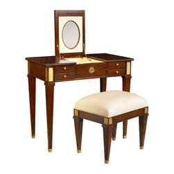 French Heritage - Aubin Vanity and Stool, Antique Cherry - Pretty without being frilly, this vanity boasts a fold-up mirror and generous storage, all smoothly concealed behind richly finished hardware.  -Flip up mirror -Two drawers -Two flip up storage compartments -Weight: 110lbs