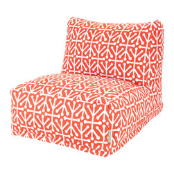 Majestic Home - Outdoor Orange Aruba Beanbag Chair - Add style and functionality to your living room, family room or outdoor patio with the Majestic Home Goods Bean Bag Chair Lounger. This Beanbag Chair has the design of modern furniture, while still giving the comfort of a classic bean bag. Woven from outdoor treated polyester, these loungers have up to 1000 hours of U.V. protection and are able to withstand all of natures elements. The beanbag inserts are eco-friendly by using up to 50% recycled polystyrene beads, and the removable zippered slipcovers are conveniently machine-washable.