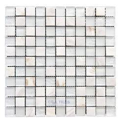 "Illusion Glass Tile - North Shore - 1"" Mosaic Tile in Sugar Island -"