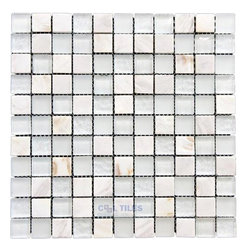 "Illusion Glass Tile - North Shore - 1"" Mosaic Tile in Sugar Island -"