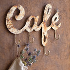 Rusty Cafe Sign With Hooks - Add a little vintage charm to your kitchen with this antique white Cafe sign, perfectly rusted with hooks for hanging anything from aprons to dried flowers.