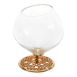 Merdinger House Of Design - Arabesque Cognac - Brandy - Snifter Glass - Indulge in a relaxing drink served from the Arabesque Cognac Brandy Snifter Glass. This glass is artfully crafted from mouth-blown glass with a stem showcasing the geometric Arabesque pattern. The eye-catching stem is plated with luxurious 18K gold & titanium.