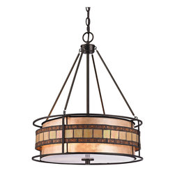 "Elk Lighting - Elk Lighting Annondale Collection 3 Light Pendant In Tiffany Bronze - 70196-3 - 3 Light Pendant In Tiffany Bronze - 70196-3 in the Annondale collection by Elk Lighting The Annondale collection features a ring of tan and brown tiffany glass pieces formed into a ring that ""floats"" around a tan mica drum shade.  Filigree metal accents adorn the brown tiffany glass pieces while metal rings form the perimeter of each fixture in this Tiffany Bronze finished series.  Pendant (1)"