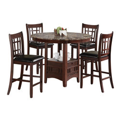 Adarn Inc - 5PC Oval Counter Height Table/Chair Dining Set, Cappuccino - Create a superb dining atmosphere in your home with this five piece counter table and chair set. The table in this set features an elegant oval top and a storage base where you can display decorative pieces. The complementary chairs feature sleek legs and beautiful backs. Enjoy a casual dinner with a few of your best friends using this five piece counter table and chair set.