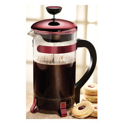 Primula - Primula Red 8-cup Classic Coffee Press - Nothing beats a coffee press when it comes to delivering a rich, elegant, satisfying cup of coffee. This French press is made with high-quality durable glass and stainless steel parts framed with red accents.