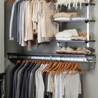 Arrange A Space - Closet System with Adjustable Shelves in Espr - Choose Size: 48 in. W x 11.75 in. D x 84 in. H (77 lbs.)Includes hardware and adjustable shelves. Anodized aluminum rail. Rail mounts easily onto the wall. Easy to installs into wood studs. 0.75 in. shelf thickness with industrial grade particle board. Commercial grade steel tubing hang rod in polished chrome. Made from fine wood grain melamine and metal. Height adjusts from 80 in. to 84 in.Arrange a Space's patented closet systems provide you with a unique and innovative solution for all of your space and storage needs. Created as a more flexible and versatile option for closets and storage areas than the common white wire or wood shelf, rod systems of the past.