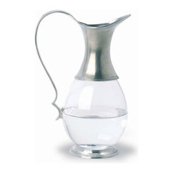 Match - Match Glass Pitcher - This pewter glass pitcher by Match is gracefully designed with simple and elegant lines. Measures 10 h. Match stemware and barware must always be washed by hand. Please do not soak these items in hot water or place them in the dishwasher. This will compromise the bond between the crystal and the pewter, and possibly lead to separation.