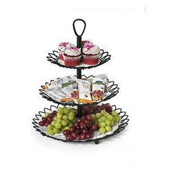 Spectrum Diversified Designs - Twist 3 Tier Server, Black - Entertain hungry guests and display all of your party favorites in style with the Twist 3-Tier Server from Spectrum. Three open tiers allow you to store and serve fruit, cookies, muffins, cupcakes and more in one convenient place. The clever design quickly disassembles to allow the tiers to be used separately or as one serving piece. Made of sturdy steel, its sleek and simple design will add a contemporary touch to your home.