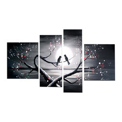 fabuart - Romance Art Painting – Love Birds 4 panels- 66x32in - This beautiful Art is 100% hand-painted on canvas by one of our professional artists. Our experienced artists start with a blank canvas and paint each and every brushstroke by hand.