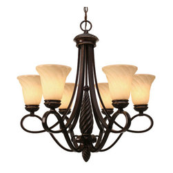 """Golden Lighting - Golden Lighting 8106-6 CDB Cordoban Bronze Torbellino Tuscan Six Light - Six Light Chandelier from the Torbellino CollectionThe Torbellino Cordoban Bronze Lighting Collection is the newest member of the Golden Family. Swirled finials and columns create a fluid, warm motion while arms with arcing detail elevate the Remolino glass etched with even more swirls. The Cordoban Bronze finish has a rich tone reminiscent of a fine bronze sculpture. Espléndido!Six light up lighting chandelierRequires 6 60w Medium base bulbs (not included)Supplied with 6  of chain and 10  of wireGlass shade dimensions: 6"""" diameter, 5.75"""" heightCanopy dimensions: 6"""" diameter, 1.5"""" extension"""