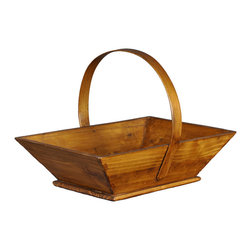 Antique Revival - Natural Appleseed Bucket - Excellent holder for fruits or vegetables around the home, this French-style bucket adds a nice touch to any kitchen or dining table. Handmade from solid pine wood, this piece features a solid wooden handle looped across the top. Finished in a variety colors that will match any season. Also makes a great gift!