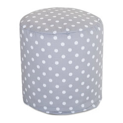 Outdoor Gray Ikat Dot Small Pouf
