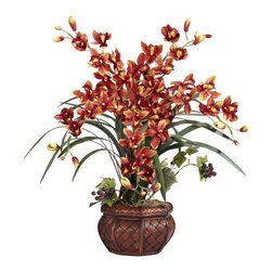 Nearly Natural - Cymbidium w/Decorative Vase Silk Arrangement - With its rich multi-hued colors and exotic curved leaves, this floral arrangement is sure to be a popular selection for any occasion.  Each individual flower provides a rainbow of its warmest colors, all brought together in a decorative pot which will fit in perfectly anywhere you decide to place it.  Whether you want to give one as a gift or keep it for yourself, the recipient is sure to be happy.