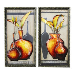Wall Metal Decoration - 2pc metal decoration of 2 vases with its floral