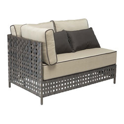 Zuo - Zuo Pinery Beige Long Right Corner Chaise - Complete your patio living arrangement with this chic long right corner chaise. The weaved framed adds a touch of texture to the plush beige cushion for an outdoor experience that you'll love.
