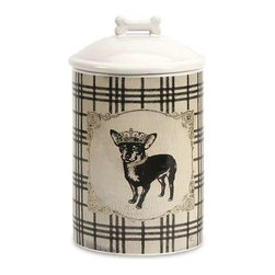 Dog Ceramic Canister Small - Store all the essentials for your canine friend in this beautiful small ceramic container with royal graphics.