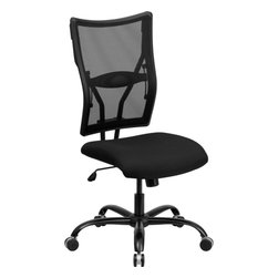 Flash Furniture - Flash Furniture Hercules Series 400 lb. Capacity Big & Tall Office Chair - This attractive Big & Tall Mesh Office Chair has been tested to hold up to 400 lbs.! The flexible mesh back material and waterfall seat provides amazing comfort throughout the day. This chair allows you to adjust the amount of lumbar pressure with the built-in lumbar support. This mesh back chair has a sturdy frame with its heavy duty steel base and dual wheel carpet casters.