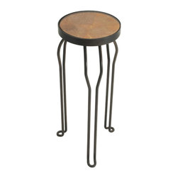 """Tempo Luxury Home - Dingo side Table from the Gotham Collection by Joe Ginsberg - Diminutive in size yet surprisingly bold—display a plant, use as a bedside table or wherever a perfectly-scaled accent piece is desired. Herald is available in blackened steel frame. Size 27""""H X 11""""D. Made to order with a four to six-week lead-time."""