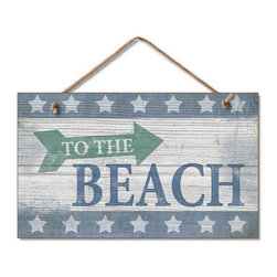 Handcrafted Nautical Decor - Wooden To The Beach Sign 10'' - Our  Wooden To The Beach Sign 10'' is the perfect choice to display  your affinity for decorating a beach house. Place this sign in a beach  kitchen, use as a coastal decorating idea, or hang this up as part of  your beach bedroom decor. Given all the options, one thing is for  certain, you are sure to inject the beach lifestyle into your humble  abode.------    Easily mountable to hang outside or inside--    Made from high quality woods--    Sign says ''To The Beach'and displays fun nautical colors--    --