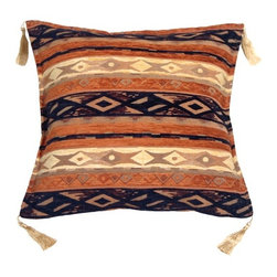 Pillow Decor - Pillow Decor - Kilim Stripes Blue and Orange 17 x 17 Throw Pillow - Blending the simplicity of stripes with traditional kilim design, this is truly a timeless pillow. Soft chenille is woven into a sturdy tapestry backing giving this pillow great texture and depth. With deep hues in burnt orange and indigo blue, add a pair of these pillows to bring warmth and color to your room or to lend a touch of global flair.